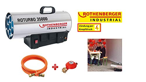 ROTHENBERGER 1500000363 Industrial Gas – Heiz – Kanone / Gebläse inkl. Schlauch und Regler, 34,0 kW
