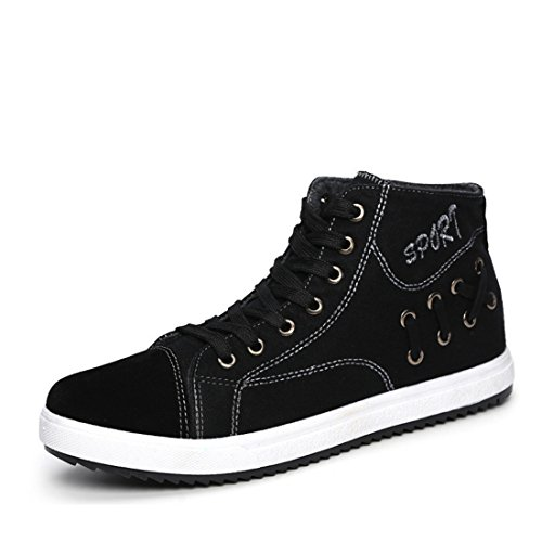 Men's Lace Up Solid Flat High Ankle Canvas Shoes Black
