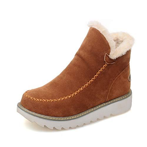 Schneestiefel Damen Warm Gefüttert Winterstiefel Wildleder Schlupf Outdoor Stiefeletten mit Keilabsatz 3cm Schuhe Braun 43