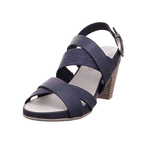 s.Oliver 28304-20 Damen Elegante Sandalette Lederimitat Soft-Foam-Innensohle, Groesse 37, Blau/Metallic