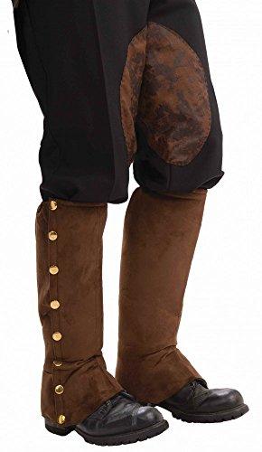 Stiefelstulpen mit goldenen Knöpfen in Wildleder-Optik für Piraten, Steampunk etc., (Edle Krieger Kostüm Für Erwachsene)