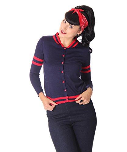 SugarShock Naylar 50er retro Baseball Rockabilly Cardigan vintage Style Pin Up Weste , Farbe:navyblau, Größe:onesize