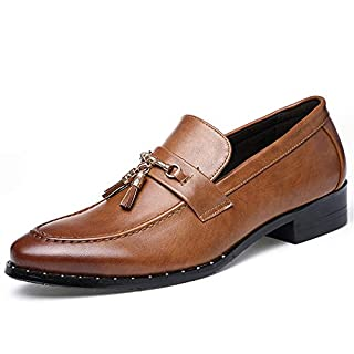 Jingkeke Herren Formale Business Oxfords Blockabsatz Driving Loafer Echtes Leder wies Toe Dress Schuhe auffällig (Color : Braun, Größe : 38 EU)