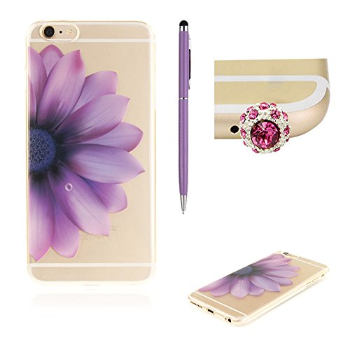 Custodia per iPhone 6/6S Plus,SKYXD Lusso Luminosa Brillante Strass Creativo Disegni Rainbow Cover Trasparente Silicone Antiurto Case per Apple iPhone 6/6S Plus Case Custodia per iPhone 6 Plus iPhone  Porpora Colorato Fiore Metà