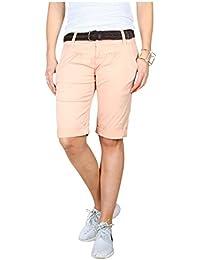 0fa1da8fbdc30 Fresh Made Sommer-Hose Bermuda-Shorts für Frauen | Kurze Chino-Hose mit  Flecht-Gürtel | Basic Shorts aus…