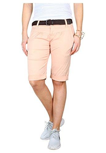 Fresh Made Sommer-Hose Bermuda-Shorts für Frauen | kurze Chino-Hose mit Flecht-Gürtel | Basic Shorts aus Baum-Wolle orange S (Orange Capris Womens)