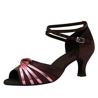 Scarpe da ballo-Personalizzabile-Da donna-Balli latino-americani / Jazz / Salsa / Scarpe da swing-Tacco su misura-Raso-Altro coffee