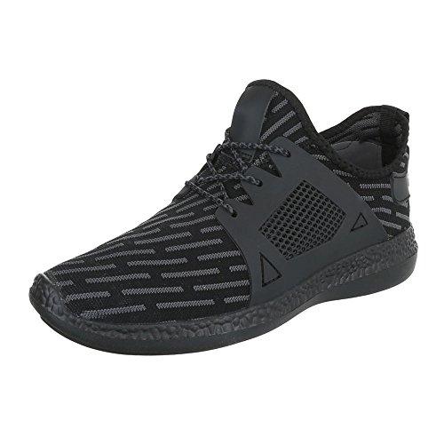 Slipper Damenschuhe Herrenschuhe Leichte Unisex Sneakers Ital-Design Halbschuhe Schwarz Grau BY3101