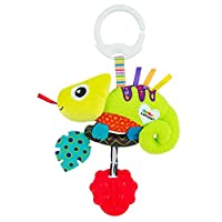 LAMAZE Mini Clip and Go Chameleon Baby Toy, Clip On Baby Pram Toy and Pushchair Toy, Newborn Sensory Toy for Babies Boys and Girls from 0 to 6 Months