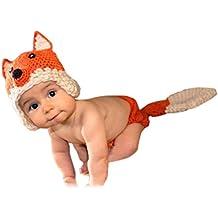Aivtalk - Disfraces Trajes Apoyo de Fotografía de Punto de Ganchilo para Bebés Recién Nacidos Niños Niñas Diseño de Animal - Dinasaurio Caracol Sirena Maripasa Conejo Rana Jirafa Oruga Abeja