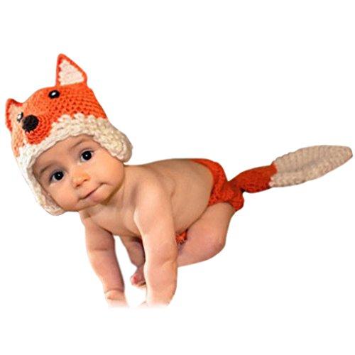 Imagen de smarstar  disfraces trajes apoyo de fotografía ropa de fotos para bebés niños niñas de punto de ganchillo formado de animales lindo 2 pcs pamtalones cortos con cola  zorro  naranja