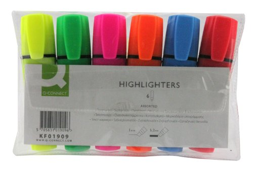 q-connect-assorted-highlighter-pen-wallet-of-6