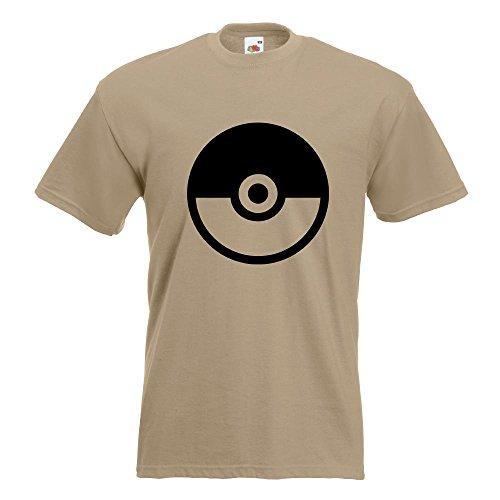 KIWISTAR - Pokeball - Meisterball - Catch them all T-Shirt in 15 verschiedenen Farben - Herren Funshirt bedruckt Design Sprüche Spruch Motive Oberteil Baumwolle Print Größe S M L XL XXL Khaki