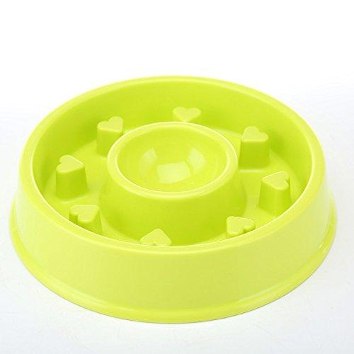 K&C Hundeschüssel Slow Feeder Interaktive Puzzle Katze Schüssel Gesunde Ernährung Diät Bloat Stop Happy Foraging Bowl Green (Fließendes Wasser Katze Schüssel)