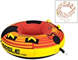 MESLE Tube Package Hurricane Speed 58'', mit 2P Schleppleine, Towable-Tube, Fun-Tube, Profi-Tube, 840 D Nylon komplett umhüllt, PVC Boden, 1-2 Person, rot-gelb, Luxury-Towable, Boston Ventil