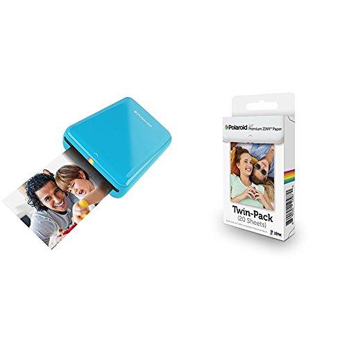 Polaroid ZIP + Pack de 20 Zink Paper - Impresora móvil (Bluetooth, NFC, micro USB, tecnología ZINK Zero Ink, 5 x 7.6 cm, compatible con iOS y Android), color azul