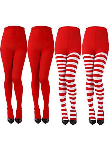 (4 Paar Damen Weihnachten Gestreiften Strumpfhosen Oberschenkel Hohe Socken Strumpfhosen für Weihnachten Cosplay Themenparty (Farbe B))