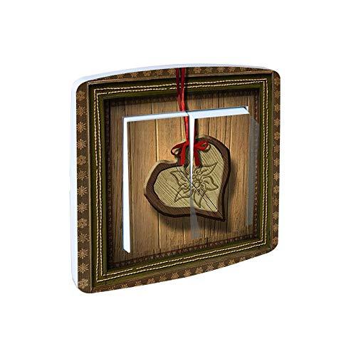 Decorado Interruptor Doble conmutado: corazón y Lazo Rojo