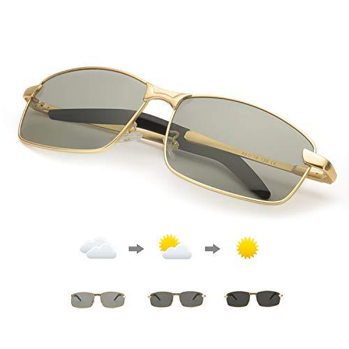 Enafad Photochromic Sonnenbrillen Herren-Sonnenbrillen mit Metallrahmen Man Polarized mit 100% UVA- und UVB-Schutz (Gold Frame/Discolor Lens)