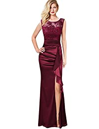 9d2d22628fb9 VFSHOW Womens Formal Ruched Ruffles Embroidered Evening Wedding Maxi Dress