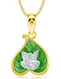 VK Jewels Ganesha Gold And Rhodium Plated Alloy Pendant With Chain For Women [VKP2516G]