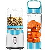 Licuadoras batidoras para el hogar Mini Juicer con capacidad de 450 ml, interfaz USB y biberones recargables para deportes eléctricos, fabricante de batidos de leche de viaje,Blue