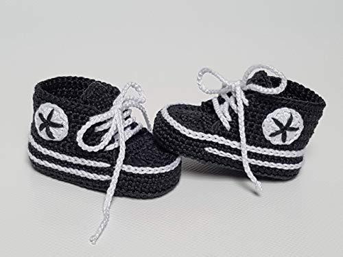 Babyschuhe gehäkelt-Sneakers-anthrazit/weiß-Turnschuhe-Sportschuhe-Krabbelschuhe