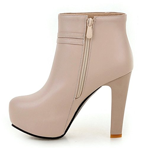 YE Damen High Heels Plateau Stiefeletten mit Schleife 12cm Absatz Ankle Boots Reißverschluss Herbst-Winterschuhe Beige