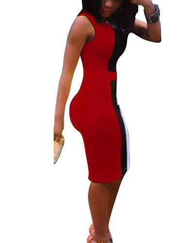 Femme Robe de Soirée Crayon Rétro au Genou Sans Manche Robe Rouge