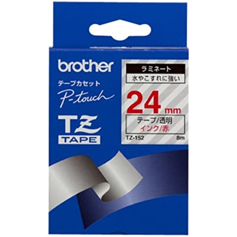 Brother Gloss Laminated Labelling Tape - 24mm, Red/Clear