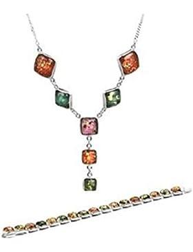 Mehrfarbig Bernstein Sterling Silber Runde Halskette Armband Set 46cm
