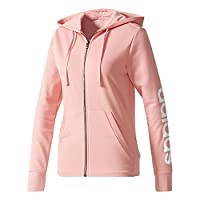 Adidas Women's Ess Lin Fz Hd Sweatshirt, Pink/Rostac, Small