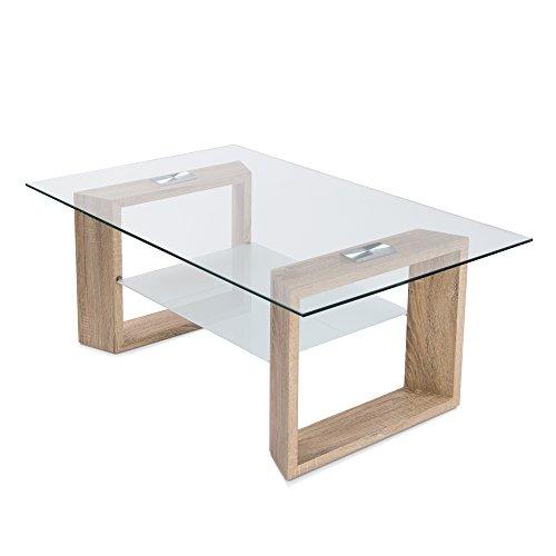 2. HomeSouth - Mesa de centro de cristal y madera