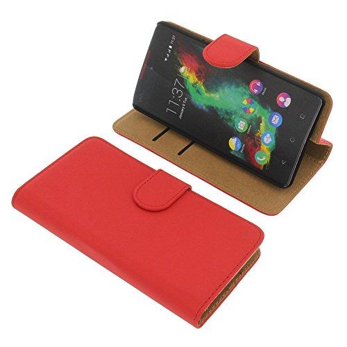 Tasche für Wiko Rainbow Lite Book Style rot Kreditkarte Schutz Hülle Buch