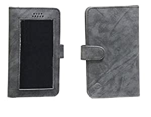 Jo Jo A11 Omni Leather Carry Case Pouch Wallet S View For Sony Xperia Z5 Dark Grey