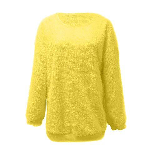 Qiusa Womens Solid Hairy lose gestrickte warme Lange Laterne Sleeve Sweater (Farbe : Gelb, Größe : 3X) (Womans 3x Strickjacke)
