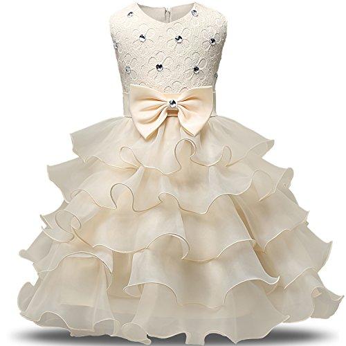 NNJXD Mädchen Kleid Kinder Rüschen Spitze Party Brautkleider Größe(90) 12-24 Monate Gelb