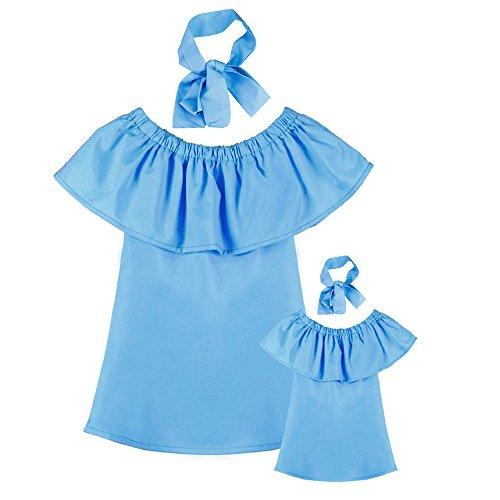 (Kinderkleid Honestyi Familie Mama und Ich Baby Mädchen aus Schulter Sommer Prinzessin Kleid (Blau,))
