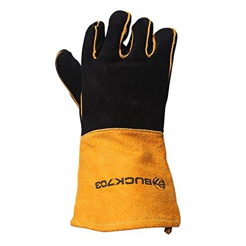 Buck703 Camping Flame & hitzebeständige Handschuhe, Bbq Handschuhe, Grill-Handschuhe, Kamin Handschuhe One size Schwarz