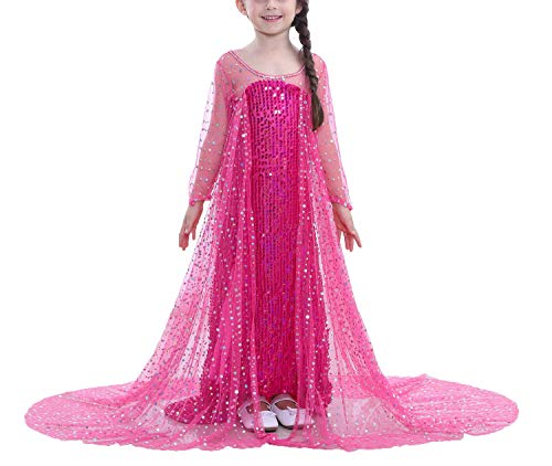 dchen Prinzessin Cosplay Kostüme Fancy Schmetterling Kleid (110, Rose rot-E11) ()
