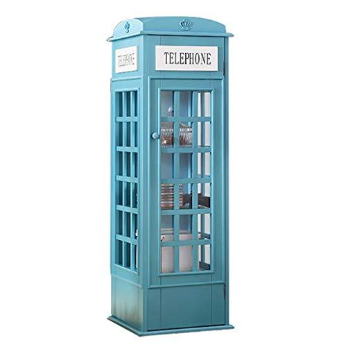 ChunSe Lagerung Display Bücherregal Britischen Stil Telefonzelle Vintage Möbel Deco Bücherregal Schrank Dekoration Laden Inhalt Regal, 365 * 365 * 1130mm,Blue - Britische Möbel