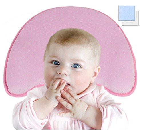 Orthopädisches Babykissen gegen Kopfverformung / Plattkopf für eine natürliche Kopfform, 3-Stufen-System aus viskoelastischem Schaum + extra Bezug, perfekt für den Kinderwagen, Wiege, Kinderbett (Rosa)