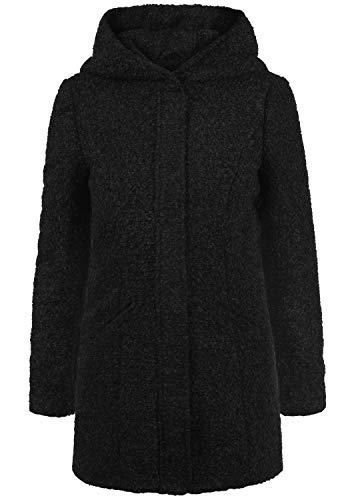 ONLY Birke Boucle Damen Winter Jacke Wollmantel Winterjacke Mantel aus Bouclé mit Kapuze, Größe:S, Farbe:Black