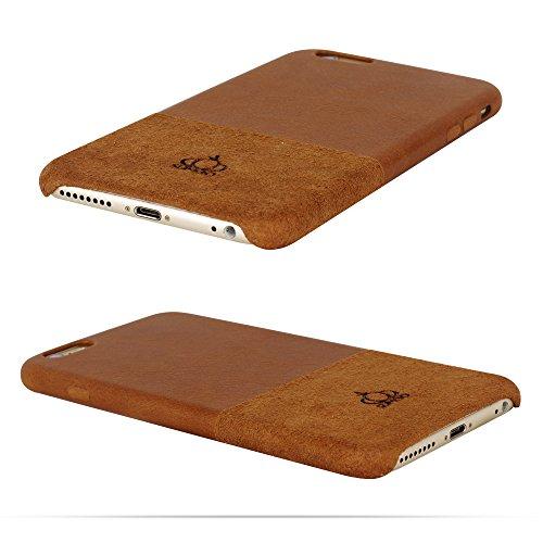Original SUMGO® echt Wild Leder iPhone 6 Plus, 6s Plus Flip Cover Schutzhülle Hülle Back Case Tasche - in Beige Braun Braun