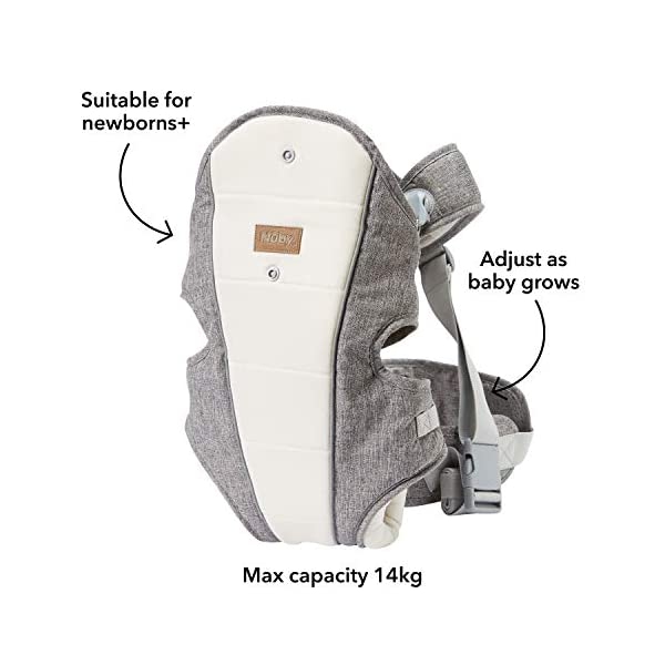 Nuby Baby Carrier, 3 in 1 Convertible Newborn Carrier Nuby 3 in 1 convertible baby carrier that adjusts as your baby grows. 1. front carrier, baby facing chest (from new-born) 2. front carrier, baby facing outwards (5-6m+) 3. back carrier position (6m+) Sturdy waist belt and adjustable padded straps to help support weight on your hips to avoid any back or shoulder discomfort Padded seat to provide extra comfort for your baby and keeps their legs perfectly positioned in the ergonomic frog-leg position 3