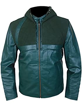 Leatherly Chaqueta de hombre Arrow Green Sintético (Sintético Cuero) Chaqueta with Removable Hood