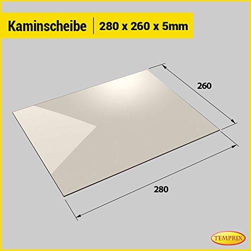 Kaminglas und Ofenglas 280 x 260 x 5 mm | Temperaturbeständig bis 800° C | » Wunschmaße auf Anfrage « | Markenqualität in Erstausrüsterqualität