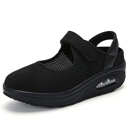 VeranoNegro39 Mary Mocasines Plataforma Deporte Mujer Zapatos Sneaker Para Hishoes Sandalias Jane Eu Merceditas Ligero Casual Malla De Zapatillas 5Rq43jAL