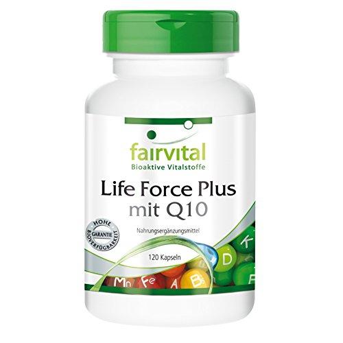 Life Force Plus mit Q10 - 120 Kapseln, vegetarisch - Multivitamin Mineral mit Ginkgo, Alpha-Liponsäure, Coenzym Q10 u.v.a.m.