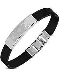 SanSardo® Damen/Herren-Armband Edelstahl Kautschuk 22 cm